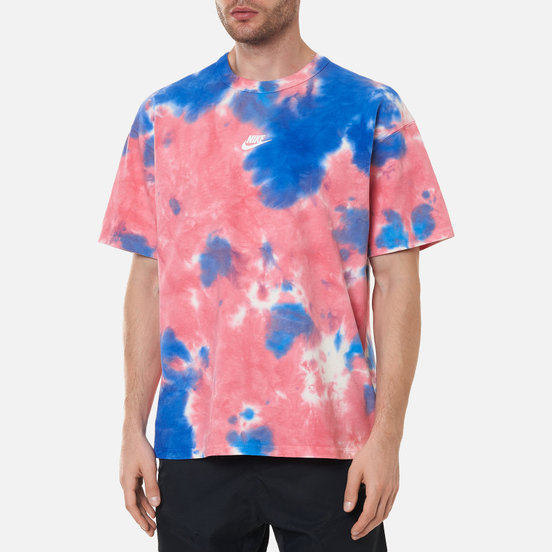 Мужская футболка Nike Premium Essential Tie-Dye White/Light Fusion Red/Signal Blue/White