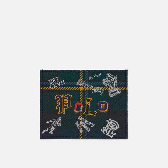 Держатель для карточек Polo Ralph Lauren Tartan Textured Smooth Leather Green