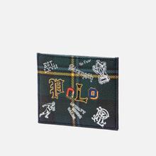 Держатель для карточек Polo Ralph Lauren Tartan Textured Smooth Leather Green фото- 1