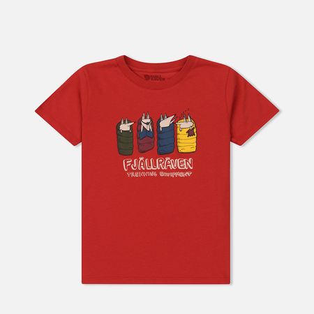 Детская футболка Fjallraven Kids Sleeping Foxes Red