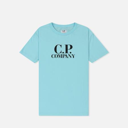 Детская футболка C.P. Company U16 Logo Goggle Hood Back Print Blue Radiance