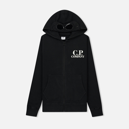 Детская толстовка C.P. Company U16 Cotton Fleece Goggle Small Logo Full Zip Black Coffee