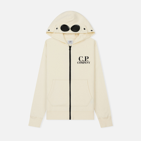 Детская толстовка C.P. Company U16 Cotton Fleece Goggle Small Logo Full Zip Gauze White