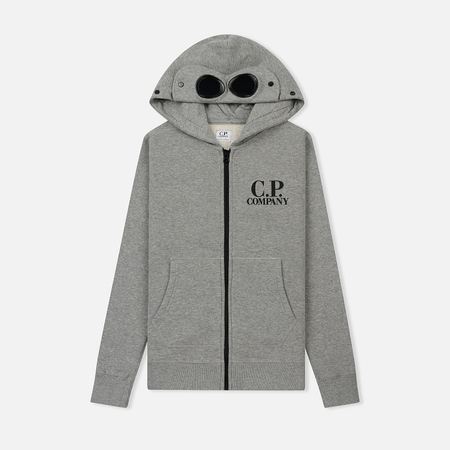 Детская толстовка C.P. Company U16 Cotton Fleece Goggle Small Logo Full Zip Grey Melange