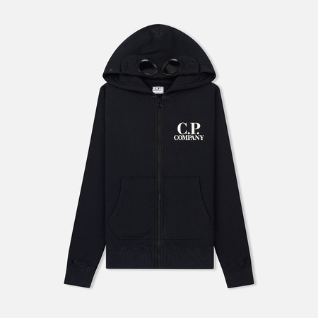 Детская толстовка C.P. Company U16 Cotton Fleece Goggle Small Logo Full Zip Total Eclipse