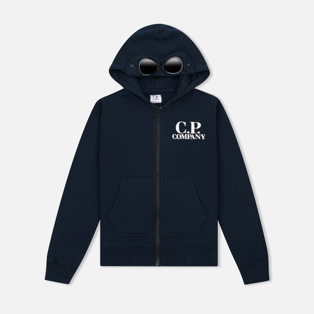 Детская толстовка C.P. Company U16 Cotton Fleece Hooded Zip Google Blue