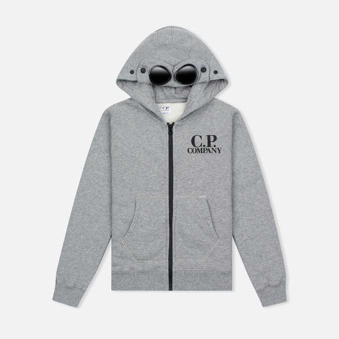 Детская толстовка C.P. Company U16 Cotton Fleece Hooded Zip Google Grey Melange