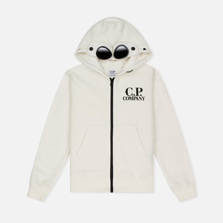 Детская толстовка C.P. Company U16 Cotton Fleece Hooded Zip Google White