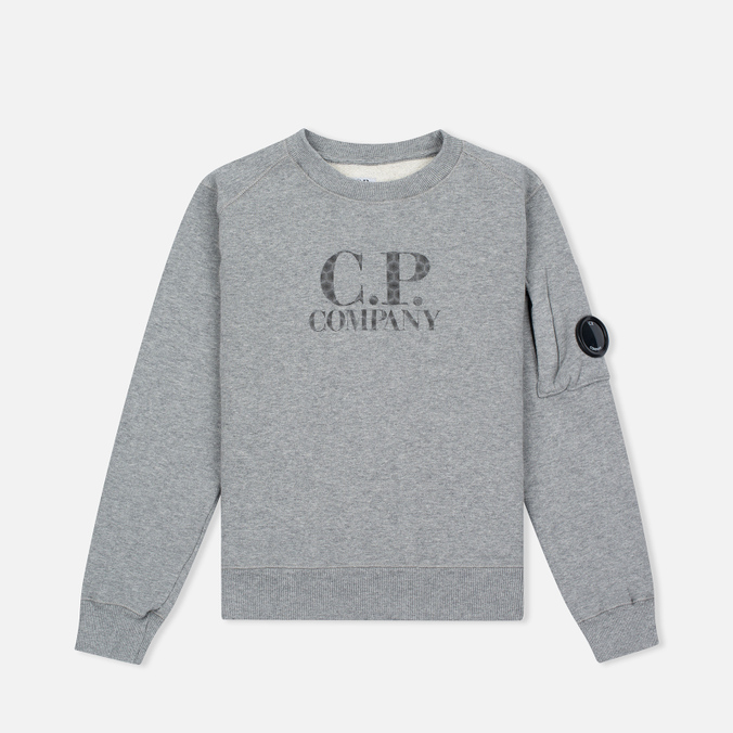 Детская толстовка C.P. Company U16 Cotton Fleece Lens Crew Neck Reflective Logo Grey Melange