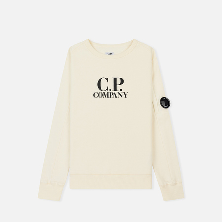 Детская толстовка C.P. Company U16 Cotton Fleece Lens Logo Crew Gauze White