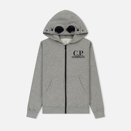 Детская толстовка C.P. Company U16 Fleece Goggle Zip Logo Grey Melange