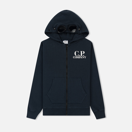 Детская толстовка C.P. Company U16 Fleece Goggle Zip Logo Total Eclipse