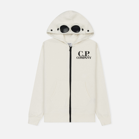 Детская толстовка C.P. Company U16 Fleece Goggle Zip Logo White