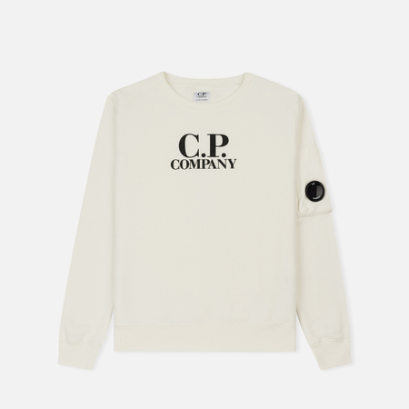 Детская толстовка C.P. Company U16 Fleece Lens Logo Crew Neck White