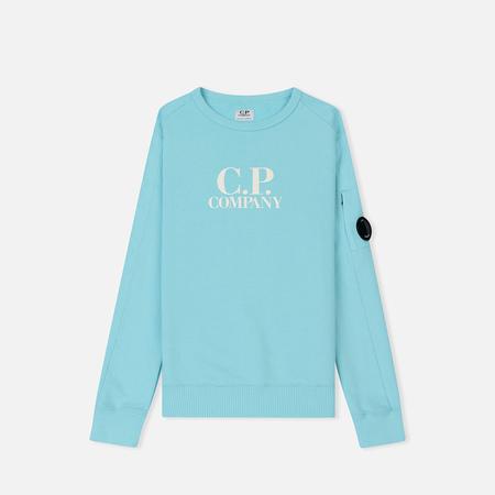 Детская толстовка C.P. Company U16 Crew Neck Fleece Front Logo Lens Blue Radiance