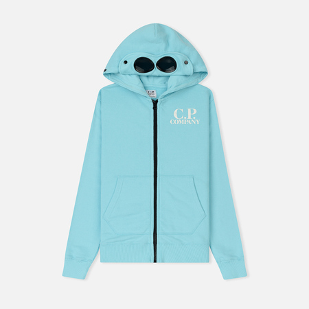 Детская толстовка C.P. Company U16 Fleece Hooded Open Logo Goggle Blue Radiance