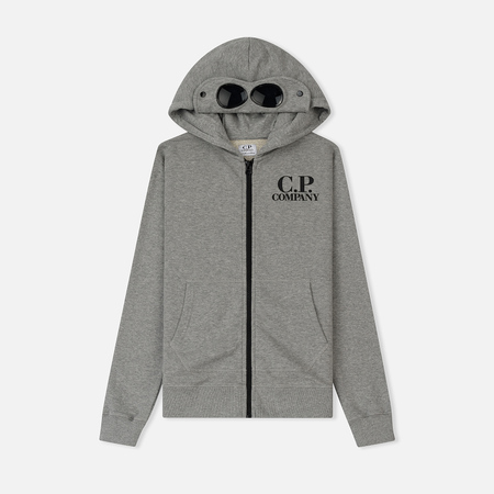 Детская толстовка C.P. Company U16 Fleece Hooded Open Logo Goggle Grey Melange