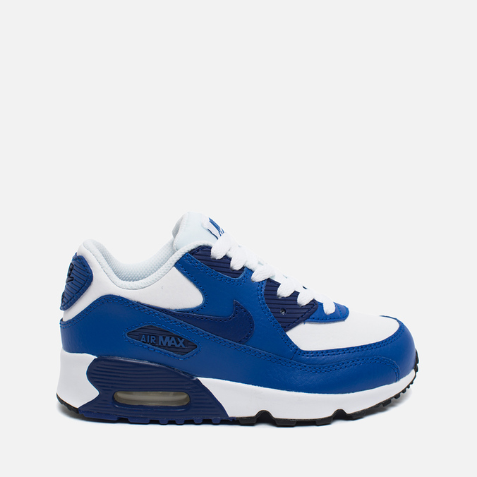 Детские кроссовки Nike Air Max 90 Leather PS White/Deep Royal Blue/Black
