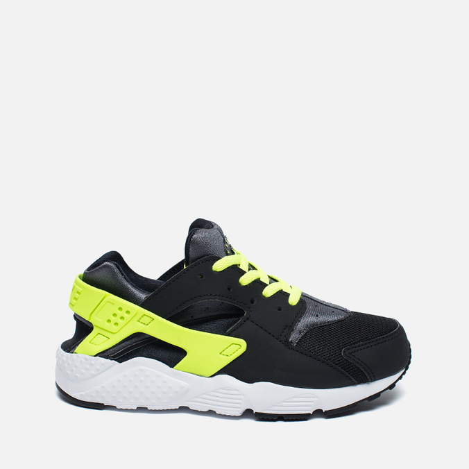 Детские кроссовки Nike Huarache Run PS Black/Dark Grey/White/Volt