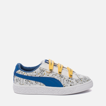 Детские кроссовки Puma x Minions Basket V PS White/Lapis Blue