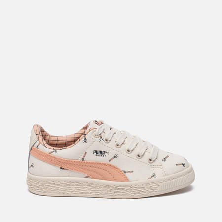 Детские кроссовки Puma x tinycottons Basket Canvas PS Whisper White/Peach Nougat