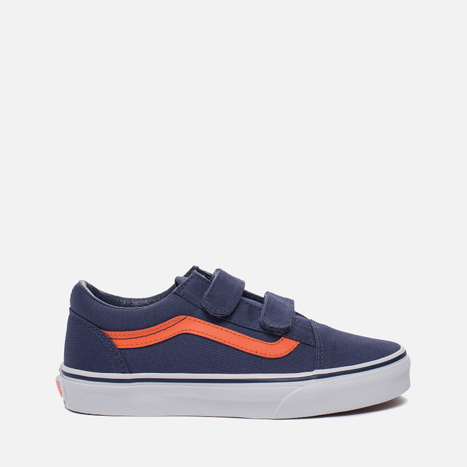 Детские кеды Vans Old Skool V Canvas Crown Blue/Mandarin Orange