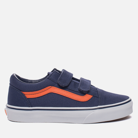 Детские кроссовки Vans Old Skool V Canvas Crown Blue/Mandarin Orange