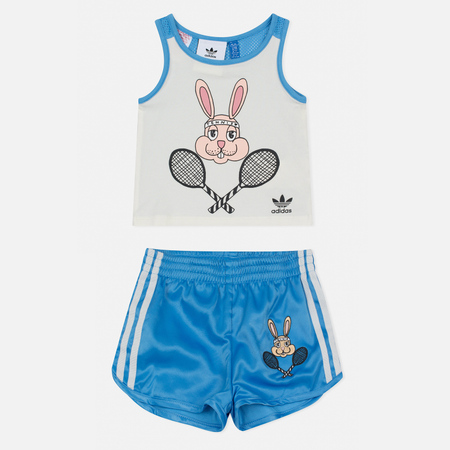 Детский костюм adidas Originals x Mini Rodini Shorts Set Off White/Joy Blue