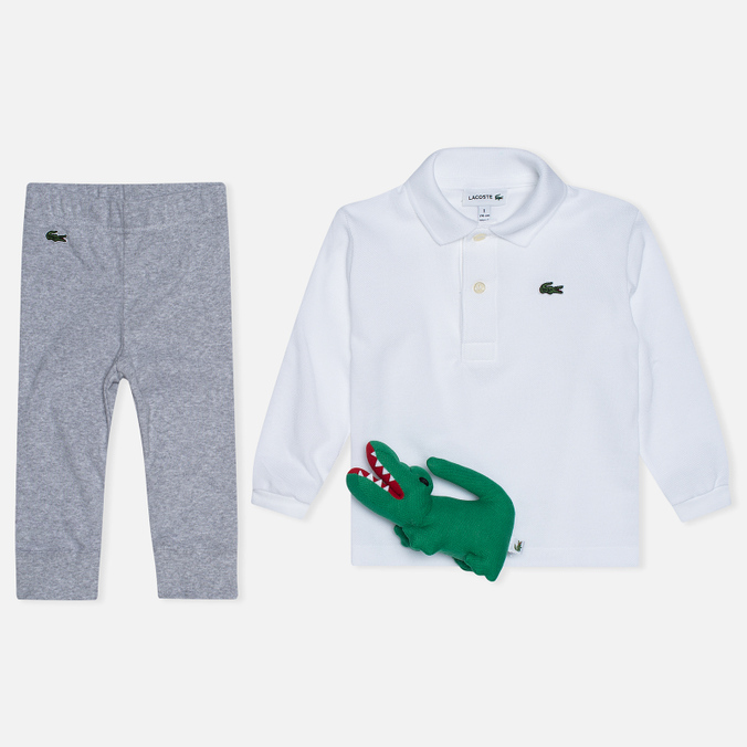 Детский набор Lacoste Infants White Polo And Grey Joggers Gift Set