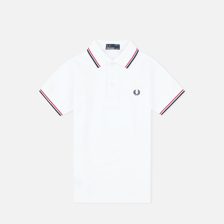 Fred Perry Twin Tipped Children's Polo White/Bright Red/Navy