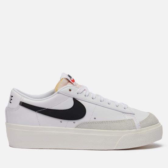 Женские кроссовки Nike Blazer Low Platform White/Black/Sail/Team Orange