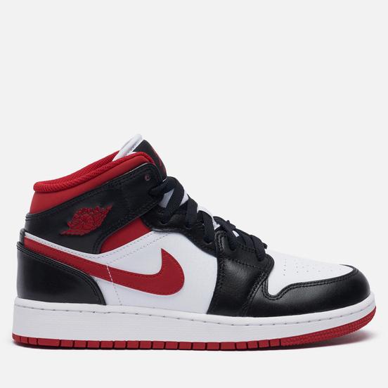 Подростковые кроссовки Jordan Air Jordan 1 Mid GS White/Gym Red/Black