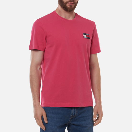 Мужская футболка Tommy Jeans Tommy Badge Regular Fit Bright Cerise Pink