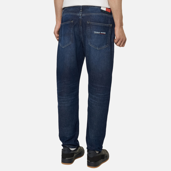 Мужские джинсы Tommy Jeans Dad Straight Fit Recycled Cotton Save Pfm Dark Blue Rigid