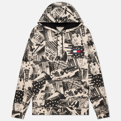 Мужская толстовка Tommy Jeans All Over Print Badge Hoodie Logo Print/White