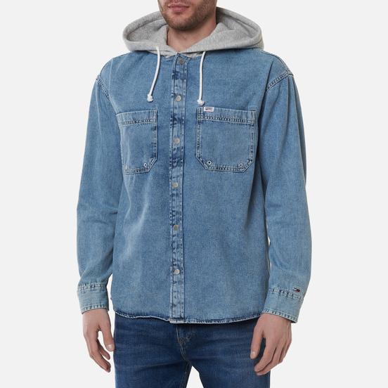 Мужская рубашка Tommy Jeans Denim Hoodie Overshirt Denim Light