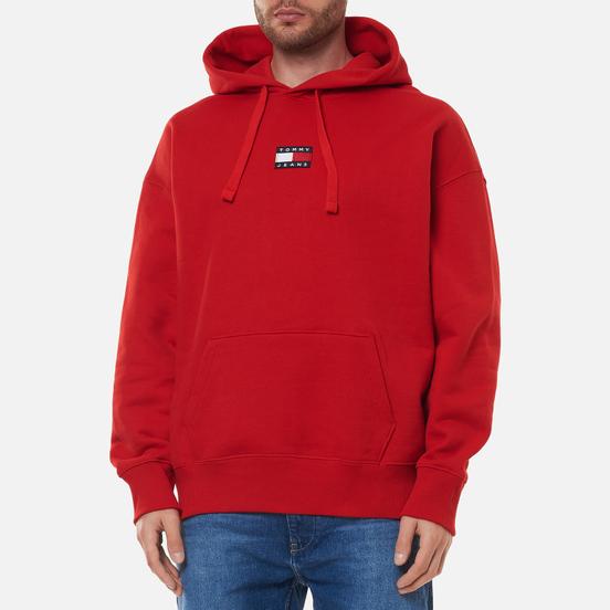 Мужская толстовка Tommy Jeans Badge Organic Cotton Hoodie Deep Crimson