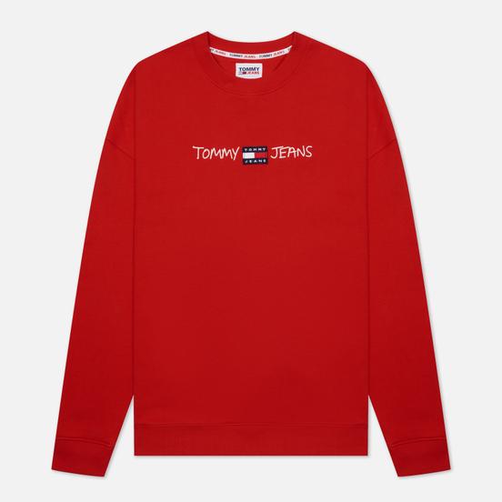 Мужская толстовка Tommy Jeans Seasonal Straight Logo Crew Neck Deep Crimson