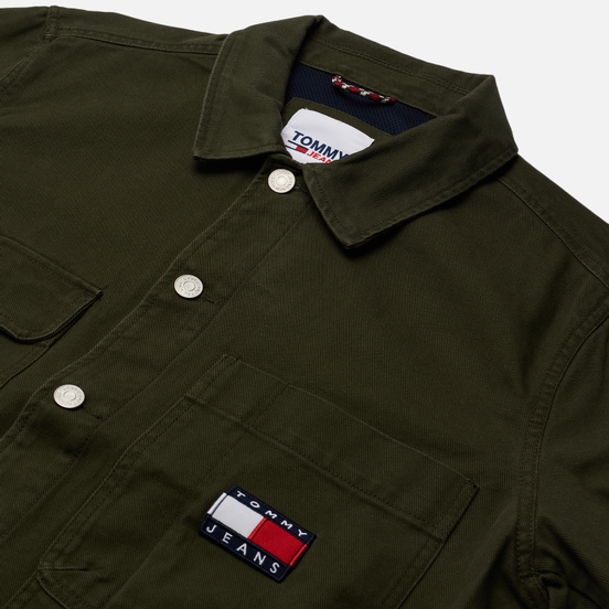 Мужская джинсовая куртка Tommy Jeans Tommy Badge Boxy Trucker Dark Olive