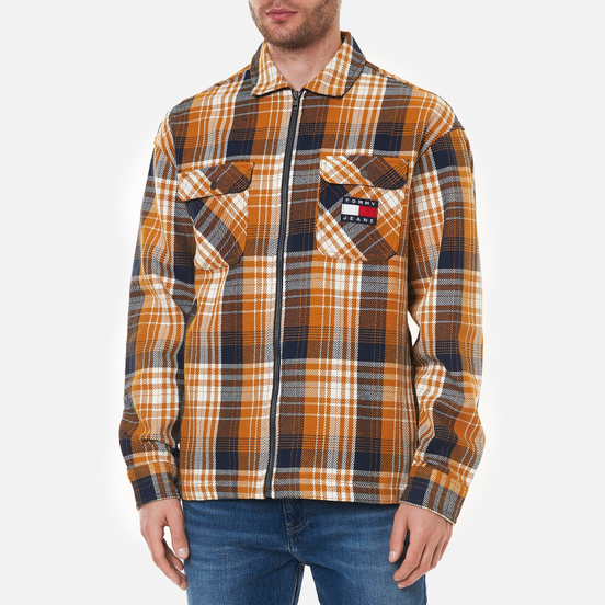 Мужская рубашка Tommy Jeans Check Zip Overshirt Golden Age/Multi