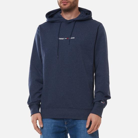Мужская толстовка Tommy Jeans Straight Logo Heathered Hoodie Twilight Navy Heather