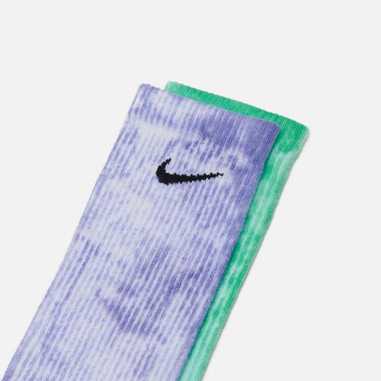 Комплект носков Nike 2-Pack Everyday Plus Cush Tie-Dye Crew Multi-Color/Green/Purple