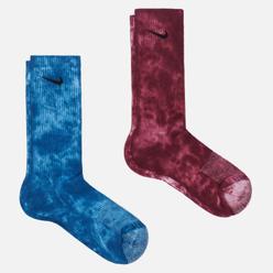 Комплект носков Nike 2-Pack Everyday Plus Cush Tie-Dye Crew Multi-Color/Burgundy/Blue