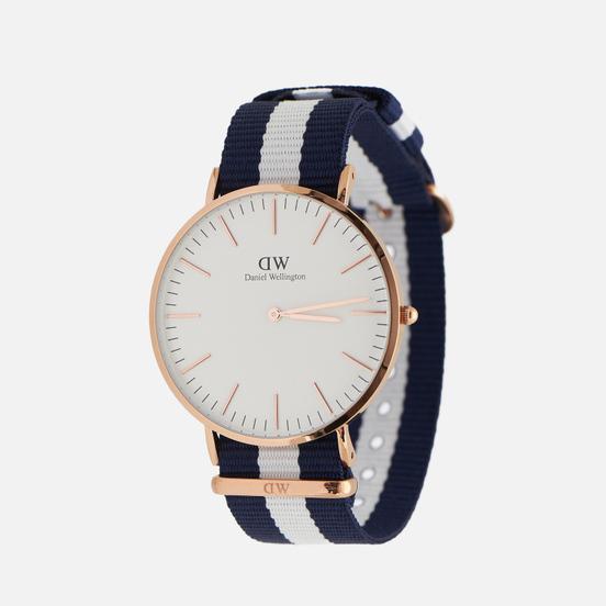 Наручные часы Daniel Wellington Classic Glasgow Blue/White/Rose Gold/Eggshell White
