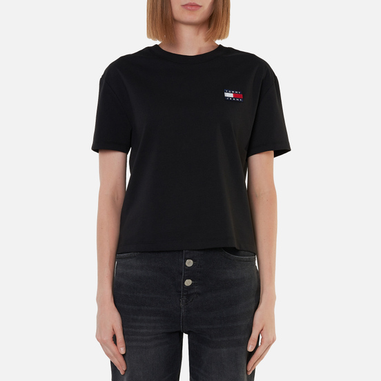 Женская футболка Tommy Jeans Tommy Badge Cropped Fit Black
