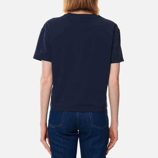 Женская футболка Tommy Jeans Tommy Badge Cropped Fit Twilight Navy