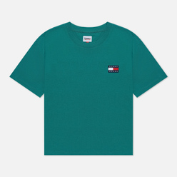 Женская футболка Tommy Jeans Tommy Badge Cropped Fit Midwest Green