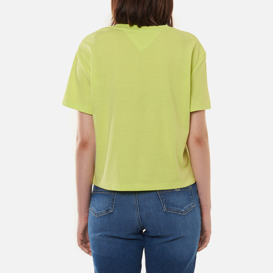 Женская футболка Tommy Jeans Tommy Badge Cropped Fit Faded Lime