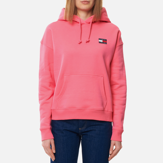 Женская толстовка Tommy Jeans Tommy Badge Organic Cotton Hoodie Glamour Pink