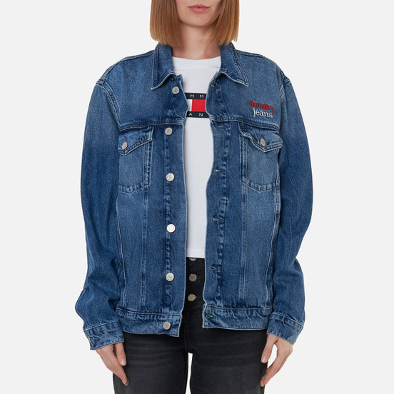 Женская джинсовая куртка Tommy Jeans Denim Oversized Fit Trucker Save Pf Mid Blue Rigid
